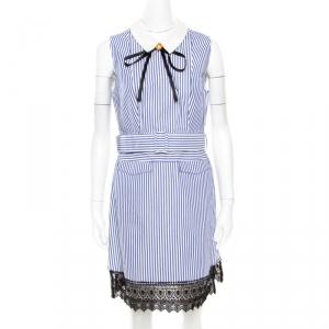 Self Portrait Blue Striped Cotton Belted Sleeveless Mini Dress M