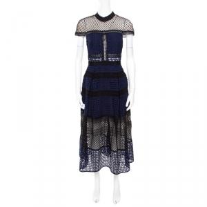 Self Portrait Navy Blue and Black Paneled Lace Crosshatch Detail Midi Dress M