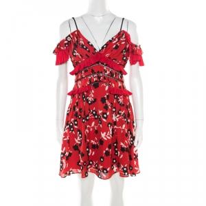 Self Portrait Red and Black Floral Printed Lace Insert Cold Shoulder Dress M