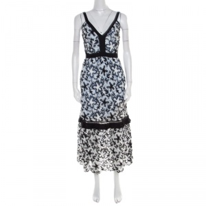 Self Portrait Monochrome Guipure Lace Overlay Sleeveless Midi Dress S