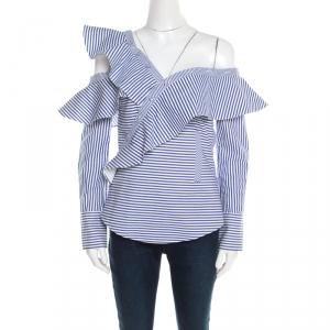 Self Portrait Blue and White Striped Ruffle Detail Off Shoulder Asymmetric Shirt S