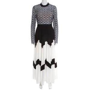Self Portrait Monochrome Sweetheart Lace Long Sleeve Maxi Dress M