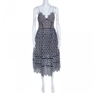 Self Portrait Navy Blue And White Embroidered Sweetheart Azaelea Dress M