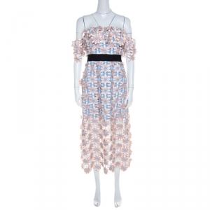 Self Portrait Peach Floral Lace Applique Off Shoulder Midi Dress S