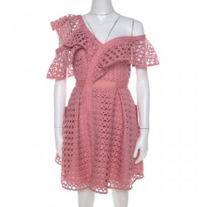 Self-Portrait Pink Guipure Lace Asymmetric Cold Shoulder Fit and Flare Mini Dress S