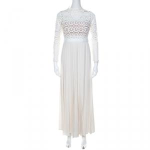 Self Portrait Cream Crepe Crochet Bodice Maxi Dress M