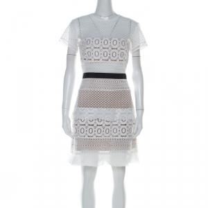 Self Portrait White Oblique Lace Contrast Waist Trim Mini Dress M