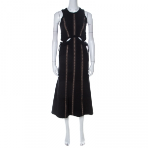 Self Portrait Black Cut-Out Midi Dress S