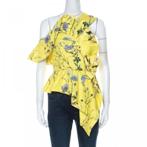 Self-Portrait Yellow Floral Print Crepe Asymmetric Peplum Top S