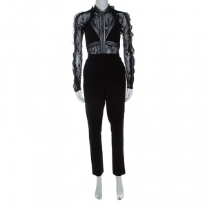 Self Portrait Black Stretch Knit and Lace Bodice Fitted Jumpsuit S