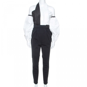 Self Portrait Monochrome Cross Front Neck Belted Jumpsuit M