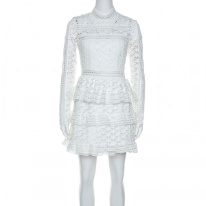 Self Portrait White Star Lace High Neck Mini Dress M