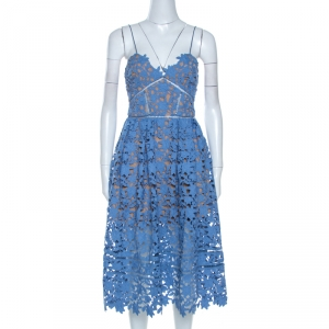 Self Portrait Blue Floral Guipure Lace Azaelea Dress S