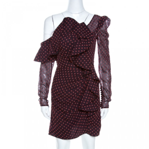 Self Portrait Sangria Purple Dobby Draped Plumetis Dress S