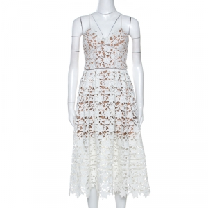 Self Portrait White Floral Guipure Lace Azaelea Midi Dress S