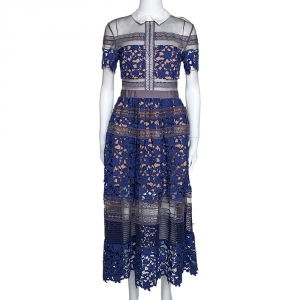 Self Portrait Blue Guipure Lace & Mesh Paneled Liliana Midi Dress S