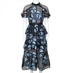 Self-Portrait Black & Blue Floral Fil Coupe Cape Detail Tiered Midi Dress M
