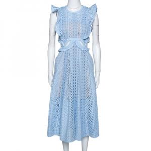 Self-Portrait Blue Floral Embroidered Cotton Cutout Midi Dress S