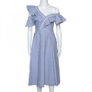 Self Portrait Blue Striped Cotton Asymmetric Flared Dress S