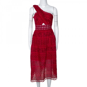 Self-Portrait Maroon Embroidered Lace One Shoulder Dress S
