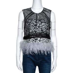 Self-Portrait Black Lace Tulle Overlay Feather Trim Top M
