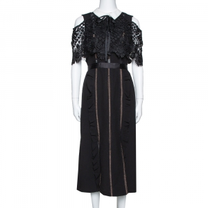 Self Portrait Black Crepe Lace Overlay Hinkley Midi Dress M - used