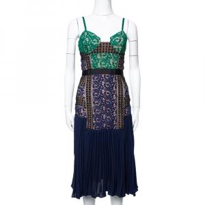 فستان سيلف بورتريه دانتيل وطيات متعدد الألوان مقاس صغير - سمول