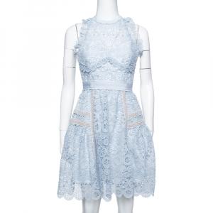 فستان ميني سيلف بورتريه أزرق بودرة دانتيل رقبة حمالات مقاس صغير - سمول