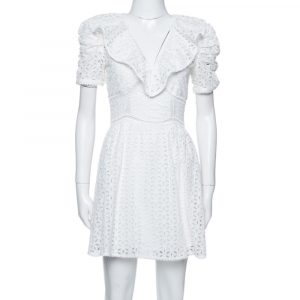 Self-Portrait White Cotton Broderie Anglaise Mini Dress S - used