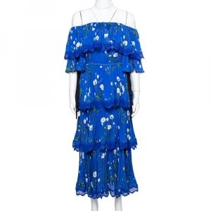 فستان سيلف بورتريه كريب أزرق مورد مطبوع بطيات مقاس صغير جدًا - إكس سمول