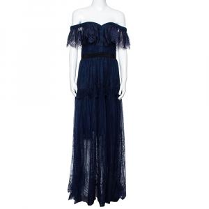 Self Portrait Navy Blue Lace Ruffled Maxi Dress M