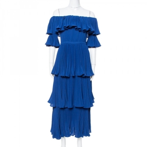 Self Portrait Navy Blue Crepe Pleated Tiered Off Shoulder Dress S