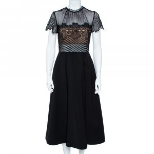 Self-Portrait Black Cotton Embroidered Felicia Midi Dress M