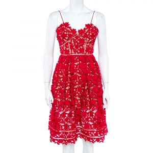 Self Portrait Red Floral Guipure Lace Noodle Strap Azaelea Midi Dress S