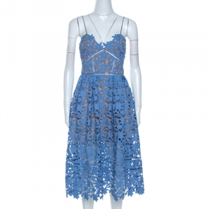 Self Portrait Blue Floral Guipure Lace Azaelea Dress M