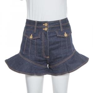 Self Portrait Navy Blue Denim High Waist Flounced Shorts S used