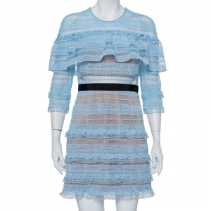 Self-Portrait Blue Guipure Lace Ruffled Mini Dress M