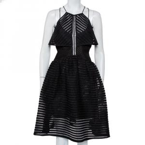 Self-Portrait Black Mesh Overlay Detail Flared Dress S - used