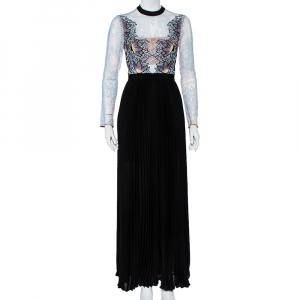 Self-Portrait Blue Lace & Black Pleated Crepe Applique Detail Moni Maxi Dress S - used