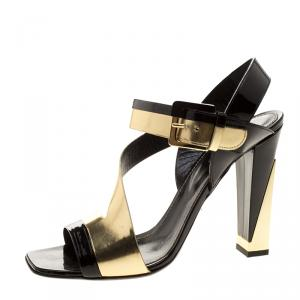 Sergio Rossi Black Patent And Metallic Gold Leather Zed Peep Toe Sandals Size 40 -