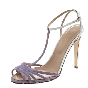 Sergio Rossi Purple/White Suede and Leather T-Strap Sandals Size 38.5 -