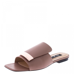 Sergio Rossi Beige Nude Leather SR1 Slide Flats Size 39