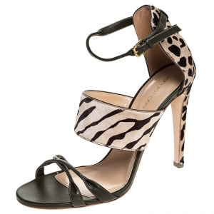 Sergio Rossi Tricolor Pony Hair And Leather Donyale Ankle Strap Sandals Size 39.5 -