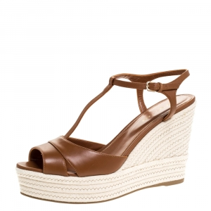 Sergio Rossi Brown Leather Wedge Espadrille Ankle Strap Sandals Size 39 -