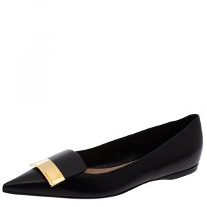Sergio Rossi Black Leather Metal Plate Detail Pointed Toe Ballet Flats Size 40