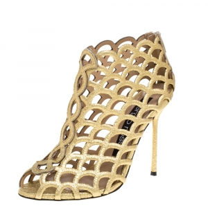Sergio Rossi Metallic Gold Leather Scalloped Peep Toe Caged Booties Size 37 -