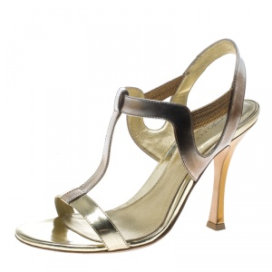 Sergio Rossi Gold Leather T Strap Sandals Size 37 - used