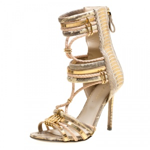 Sergio Rossi Metallic Beige Mix Exotic Leather Braid Detail Peep Toe Sandals Size 36.5 - used
