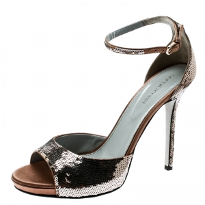 Sergio Rossi Brown Sequin Embellished Ankle Strap Platform Sandals Size 39.5 - used