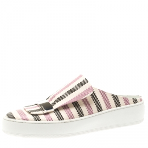 Sergio Rossi Multicolor Canvas Backless Slip On Sneakers Size 39